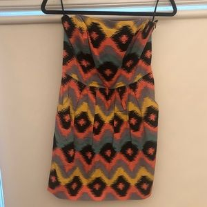 Aztec Print Strapless Mini Dress